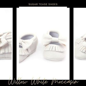 Willow White Baby Moccasin Shoes - Sugar Tease